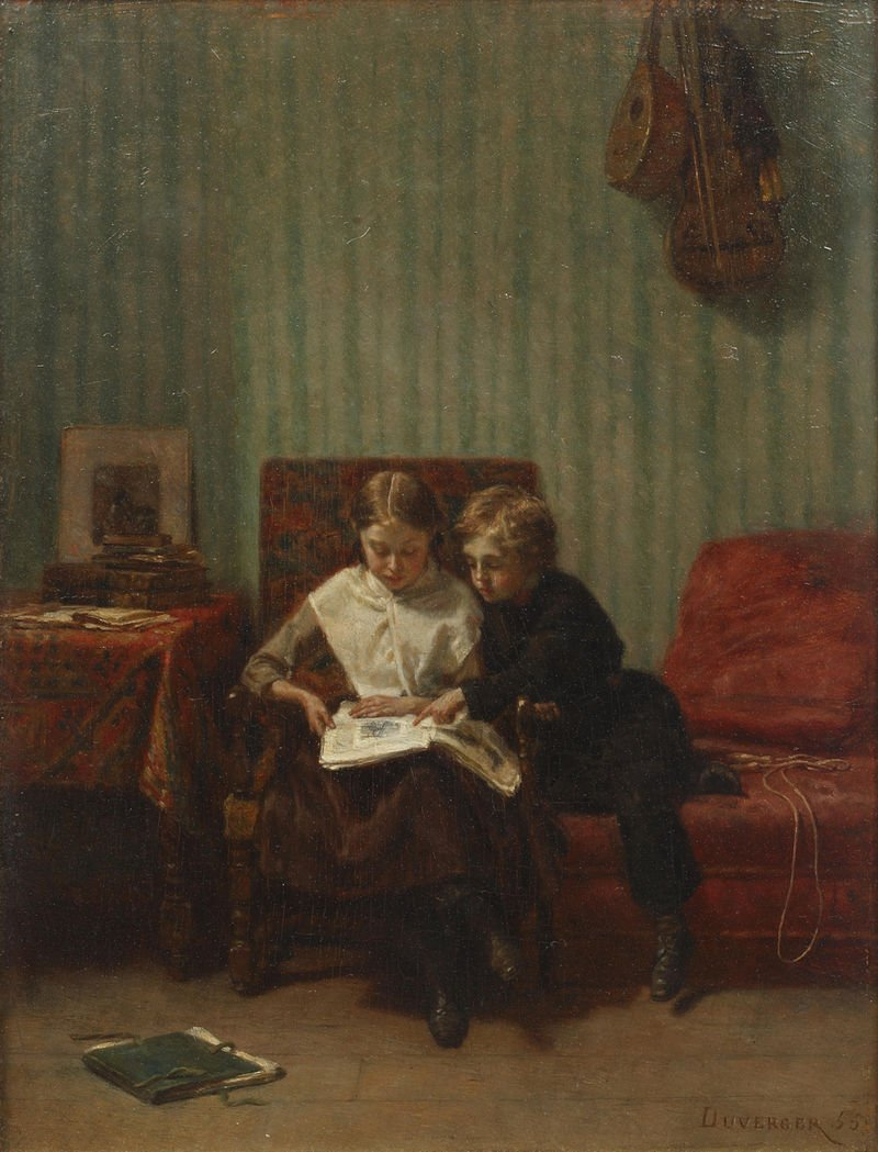 Two Children Reading Théophile Emmanuel Duverger