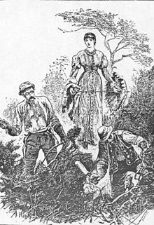 """Unconscious of her presence, he still went on singing."" Eustacia watches Clym cut furze in this illustration by Arthur Hopkins for the original Belgravia edition (Plate 8, July 1878)."