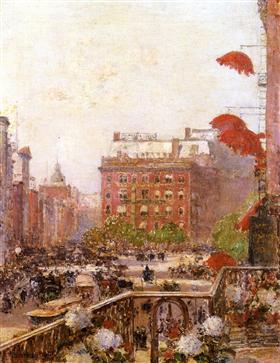 View of Broadway and Fifth Avenue Childe Hassam