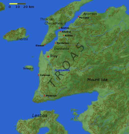 Map of the Troad including the site of Troy