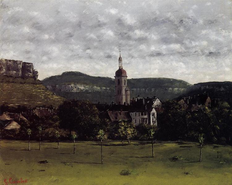 View of Ornans and Its Church Steeple